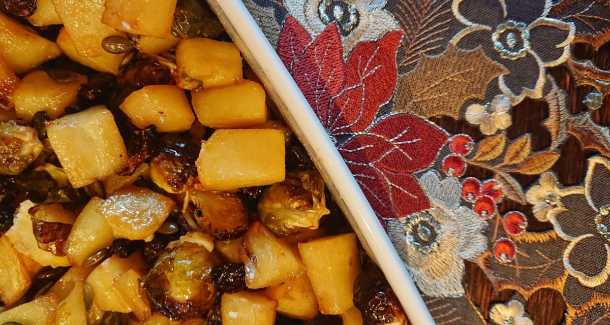 Yukon Gold potatoes roasted in maple syrup