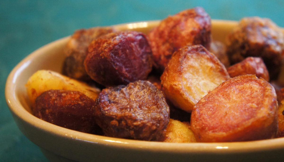 Colourful roast potatoes