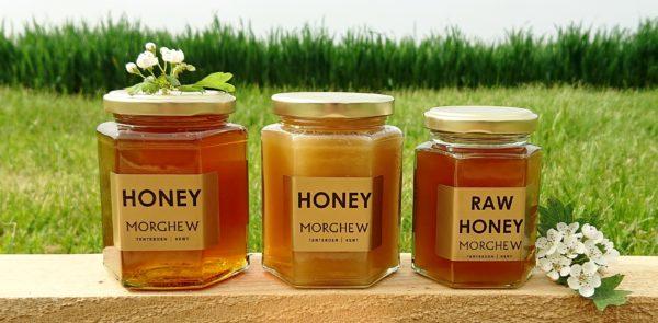 Runny honey, set honey and raw honey.