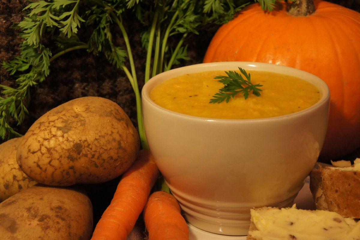 Potato, pumpkin and carrot soup