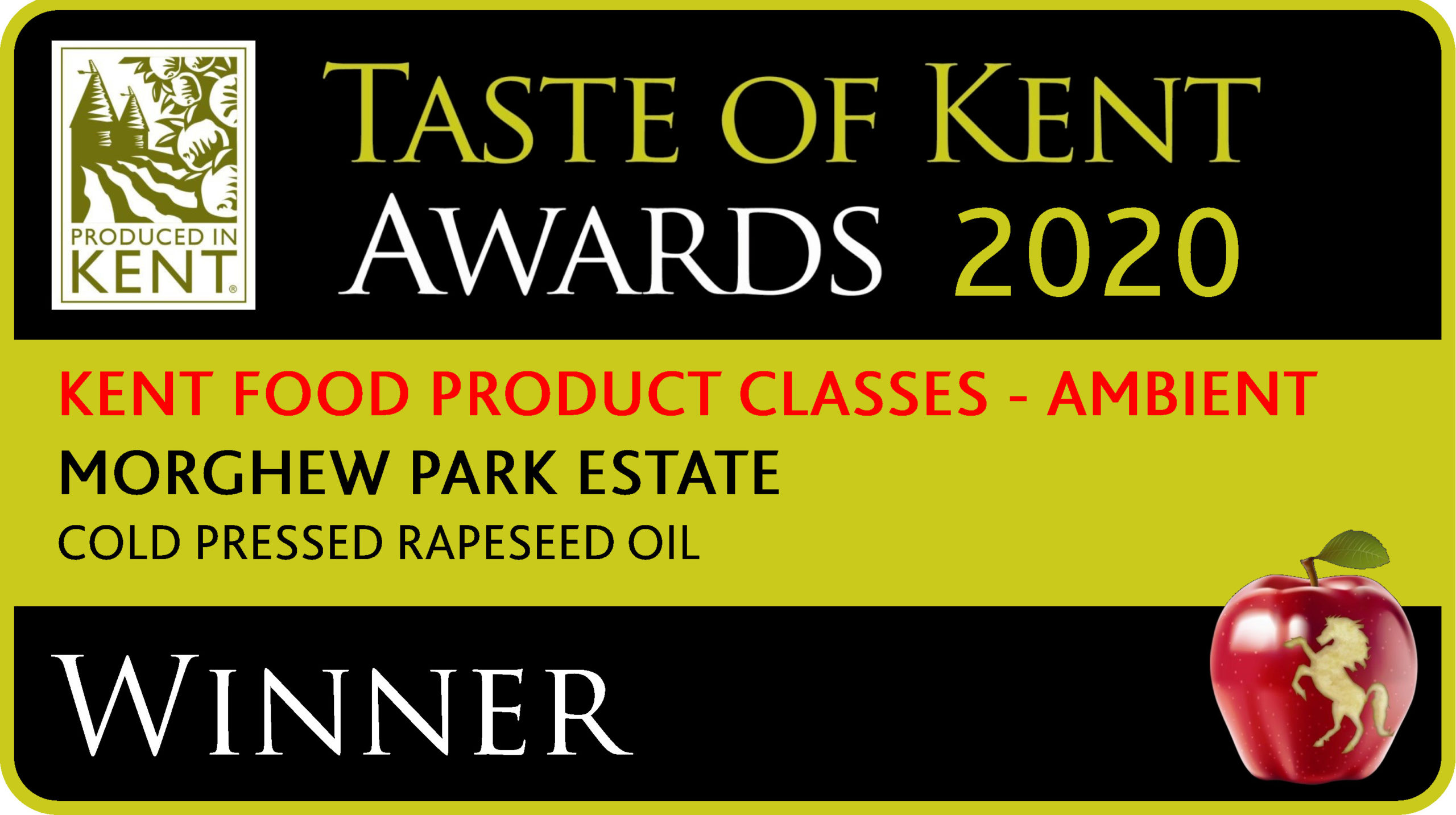 Taste of Kent Awards 2020 Ambient Class Winner - Morghew Cold Pressed Rapeseed Oil