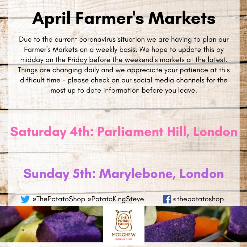 The Potato Shop Market Schedule April 2020