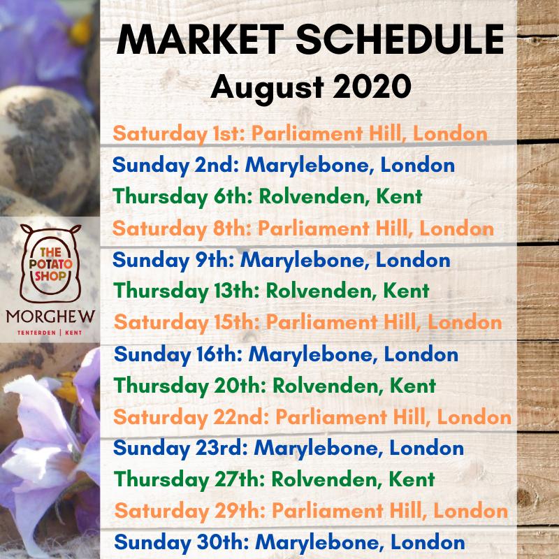 The Potato Shop Market Schedule August 2020