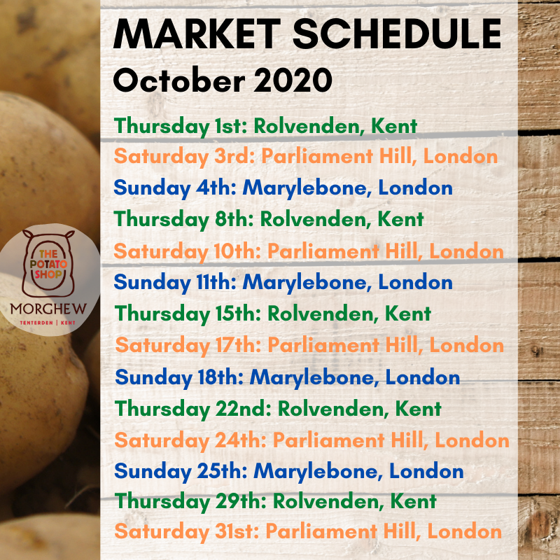The Potato Shop Market Schedule October 2020