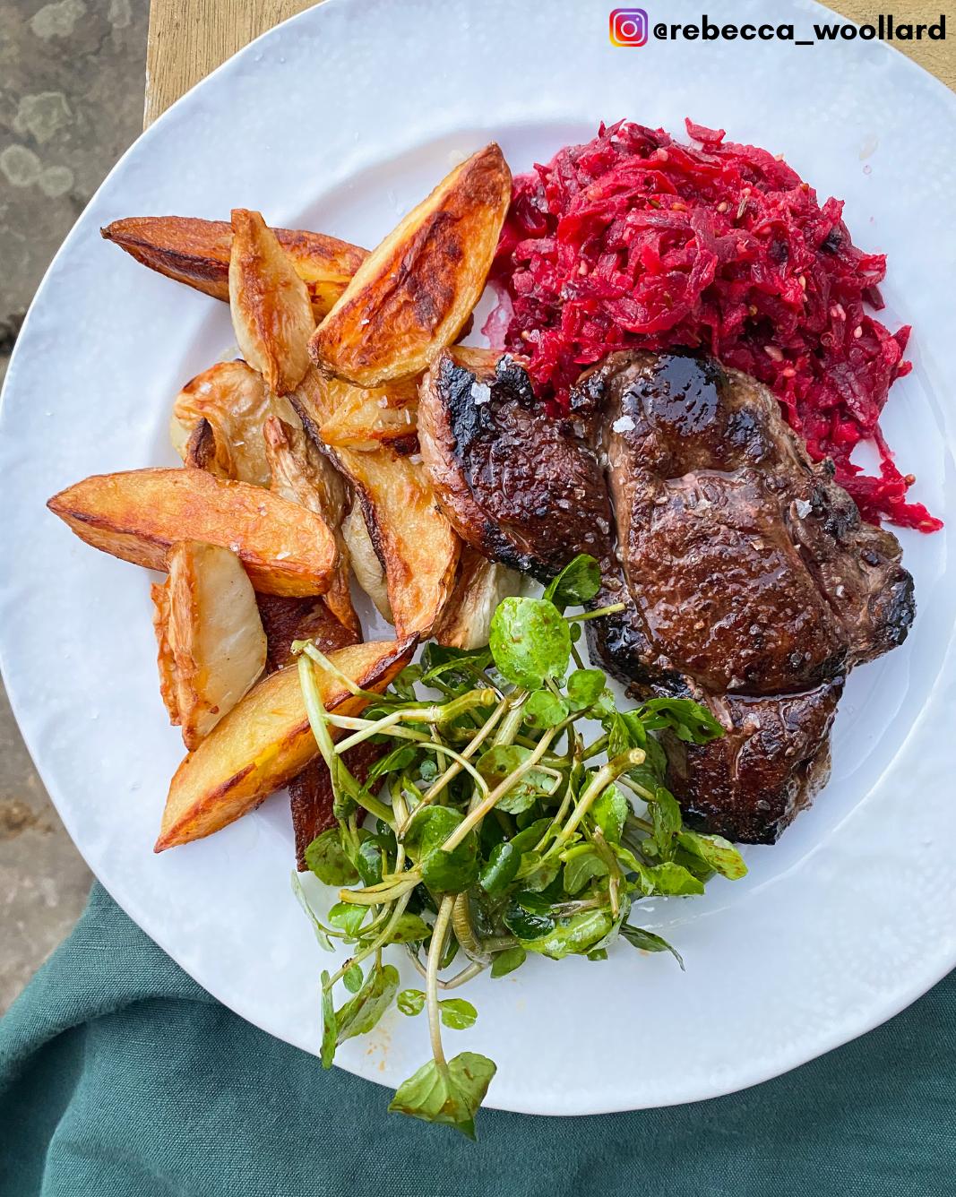 Chargrilled Venison Steak- Rebecca Woollard Instagram 02.03.21