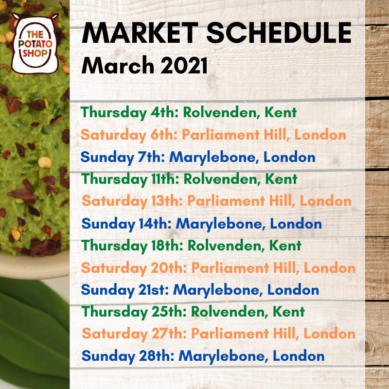 The Potato Shop Market Schedule March 2021