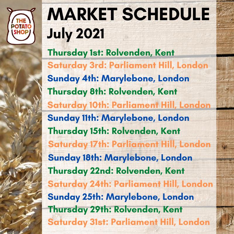 July Market Schedule 2021 The Potato Shop