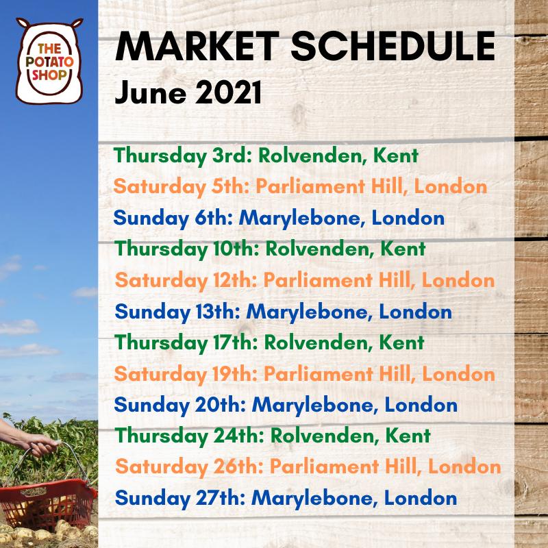 June Market Schedule 2021 The Potato Shop