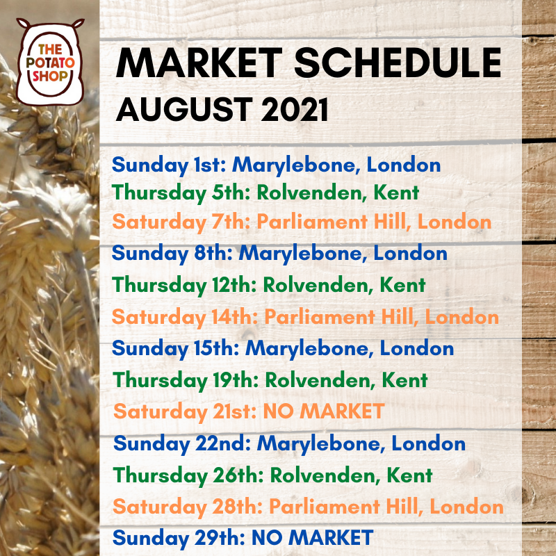August Market Schedule 2021 The Potato Shop